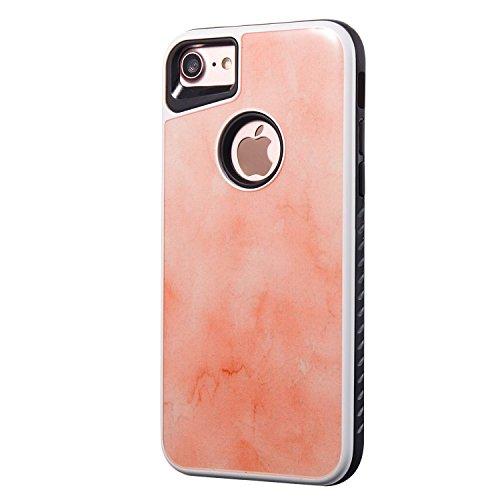 """Coque iPhone 7(4.7"""") Marbre,Sunroyal Flexible Soft Case Dual Layer PC Caoutchouc Gel coquille Motif Marbre Grain Etui Housse Couverture Cas Protection avec Marble Effect Naturel Shell pour iPhone 7(4. Orange"""