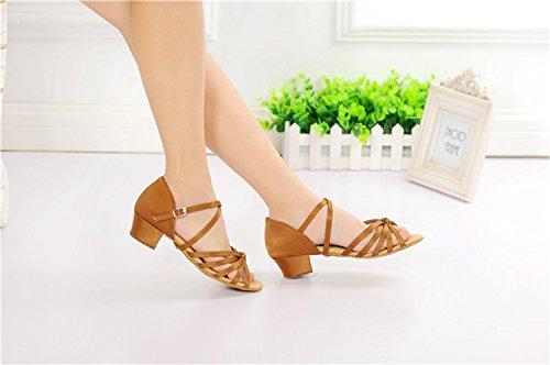 Miyoopark ,  Mädchen Tanzschuhe Brown-3.5cm Heel