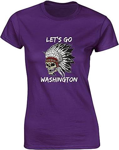 Let's Go Washington, Mesdames T-shirt imprimé - Pourpre/Blanc/Transfert 2XL = 98-102cm