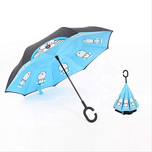 LZBDKM Cartoon Revers Umbrella Creative, Dos Pisos, Paraguas de Mango Largo, Especial, Polo Recto, Lluvia y Lluvia, vehículo de Doble Uso-