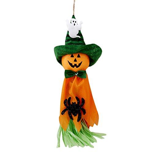 ODN Halloween Geisterhaus dekorative Stützen Hexe Kürbis Geist Kopf Gras Umhang hängende Puppe (Orange)