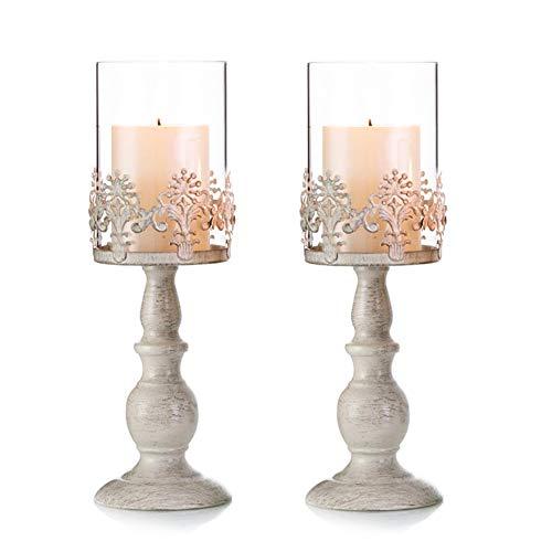 Nuptio Vintag Design Geschnitzter Kerzenständer Paket Aktualisiert, Hochzeit Party Tischdekoration Kerzenständer, Romantisches Abendessen Kerzenlicht kreative Kerzenständer(2 x Groß)