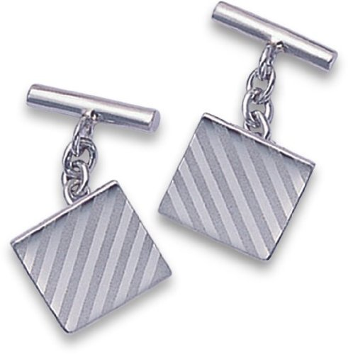 Argent sterling plaqué rhodium carré Boutons de manchette (ne se ternit pas) avec boîte cadeau en similicuir