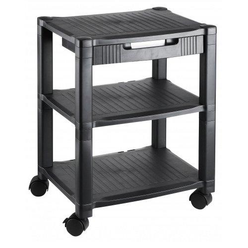 hjh OFFICE 721081 Druckertisch Altura High Schwarz Rolltisch Rollwagen Regal Schublade Ablage-Fächer Rollen Büro-Zubehör