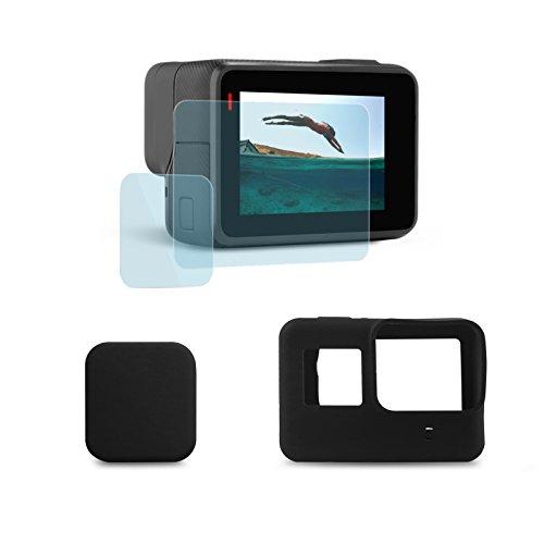 SHOOT Packung mit 2 LCD-Display Schutzfolie + schwarz weichem Gummi Silikon Tasche für Gopro Hero (2018)/6/5 Action-Kamera Len Protector - Silicon Protector Case