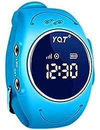 BJESSENCE 1PC Q520S Smart Watch Teléfono Niños GPS Tracker Anti-perdida Alarma IP68 a prueba de agua Pulsera de pulsera multipropósito Regalo de cumpleaños regalo de niños (Azul)