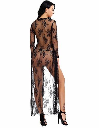 YiZYiF Transparent Kimono Blumen-Spitze Negligee Reizwäsche Nachtwäsche Morgenmantel Babydoll Lingerie Damen Dessous Set mit G-string Schwarz XXL - 2
