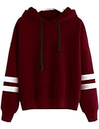 Sunnywill Lange Ärmel Hoodie Sweatshirt Pullover Kapuzen Pullover Tops  Bluse für Mädchen Damen f7be87bc93