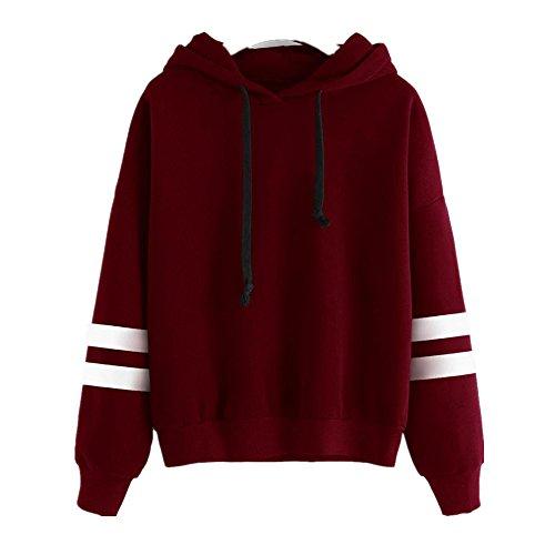 Sunnywill Lange Ärmel Hoodie Sweatshirt Pullover Kapuzen Pullover Tops Bluse für Mädchen Damen (Asien:L, Rot)