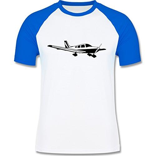 Andere Fahrzeuge - Propellerflugzeug - zweifarbiges Baseballshirt für Männer Weiß/Royalblau