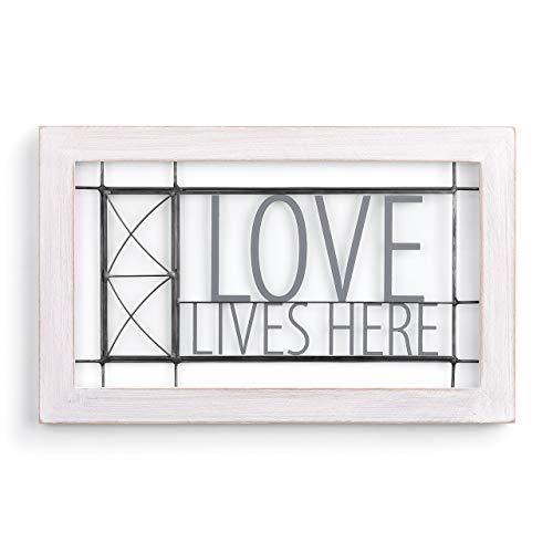 Kaskaden 16 Licht (Demdaco Dekoschild Love Lives Here, Kiefernholz, 40,6 x 25,4 cm, Weiß)