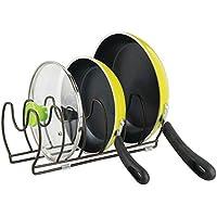 mDesign Soporte para sartenes, ollas y tapas – Organizador de tapas de ollas compacto para el armario de la cocina – Colgador de sartenes de metal para ahorrar espacio – color bronce