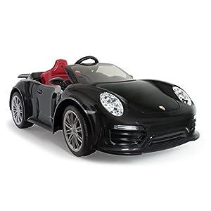 INJUSA-7184 INJUSA - Porsche 911 Turbo S Negro a Batería de 12V Edición Especial para Niños a Partir de 3 Años con Control Remoto y Conexión MP3, Color (7184)