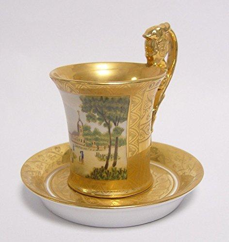 Luxus Pur UG Barock Kaffeetasse mit Henkel und Untertasse aus Porzellan in Gold