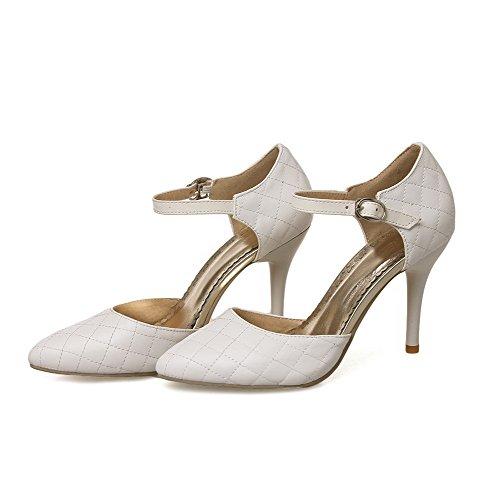 AllhqFashion Damen Rein Stiletto Schnalle Spitz Zehe Pumps Schuhe Weiß