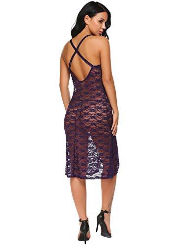 Damen Reizwäsche Spitze Transparent Babydoll Kleid Tiefer V-Ausschnitt Sexy Nachtkleid Nachthemd Lingerie Kleid Dessous Set mit G-String (L, W Tief Violett)