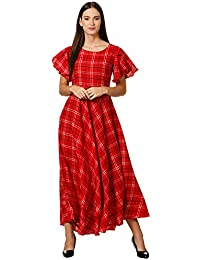 Klook Women's Crepe A-Line Maxi Dress - Crimson Red