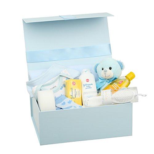 Geschenk-karte Mit Geschenk-korb (Baby Geschenkset –Erinnerungsbox, Babykleidung Jungen, Teddybär und nützliche Geschenke Blau Entworfen)
