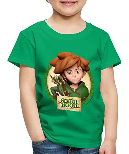 Spreadshirt Robin Hood Schlitzohr Von Sherwood Lächelnd Kinder Premium T-Shirt, 98/104 (2 Jahre), Kelly Green