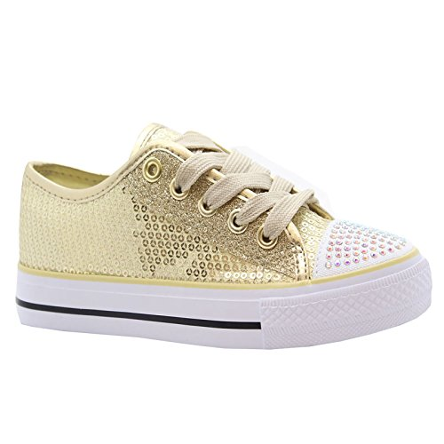 MYSHOESTORE  Diamante Canvas Shoes,  Mädchen Sneaker Low-Tops Gold / Sequins