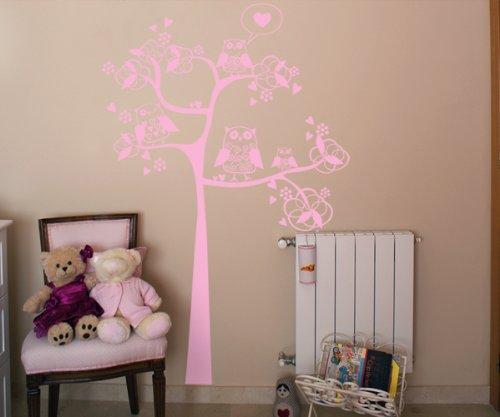 Vinilos decorativos de árbol con buhos y corazones