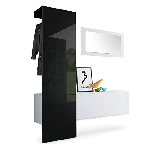 Garderobe Wandgarderobe Carlton Set 4, Korpus in Weiß matt / Paneel in Schwarz Hochglanz