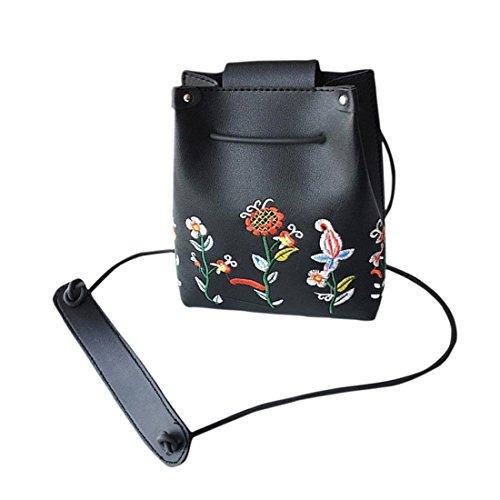 Handtasche Damen Btruely Mädchen Retro Crossbody Weiblich Blumen Tasche Schultertasche (Schwarz) (Zwei Tasche Bag Leinwand Messenger)