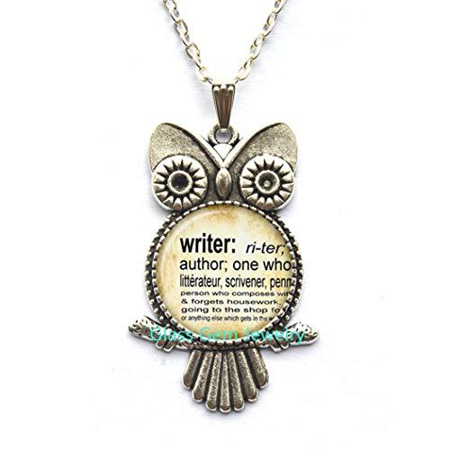 Halskette mit Schriftsteller-Eulen-Anhänger Wörterbuchdefinition des Schriftstellers Wort-Schriftsteller, Schmuck, Q0135