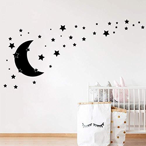 Celestial-wand-dekor (JXYY Sterne und Mond Wandtattoos Kinderzimmer Dekor, DIY Cartoon Mond Celestial Aufkleber Home Baby Zimmer Vinyl Aufkleber Wanddekoration 56x49 cm)