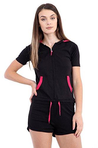 Women's Plain Hooded Short Onesie Contrast Jumpsuit Playsuit S-Xl
