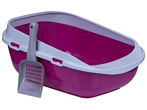 katzeninfo24.de adena Katzentoilette XXL Jumbo Schale 65 cm pink inkl. Schaufel