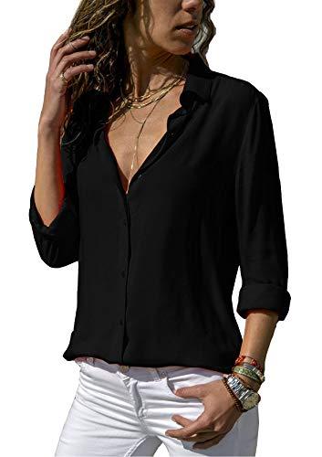 ZC GF Damen Bluse Chiffon Elegant Langarm Oberteile Einfarbig V-Ausschnitt  Hemdbluse Asymmetrisch T-Shirt Top (Schwarz, XL) 4a44ba18bd