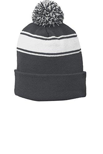 Sport-Tek® Stripe Pom Pom Beanie. STC28 Iron Grey/ White OSFA White Stripe Beanie