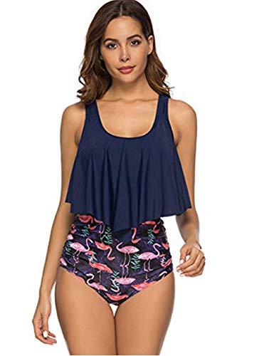 Blau Polka Dot Bikini-badeanzug (FeelinGirl Damen Vintage Polka Dot hoch taillierte Badeanzuege Bikini XL Blau)