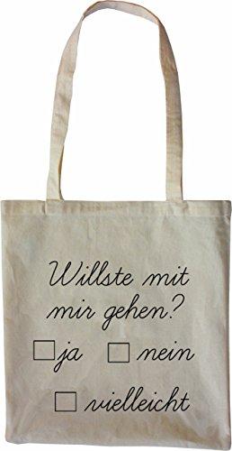 Mister Merchandise Tote Bag Willste mit mir gehen? Borsa Bagaglio , Colore: Nero Naturale