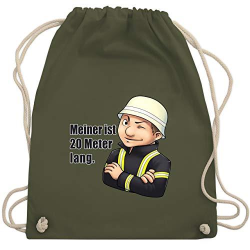 Feuerwehr - Feuerwehrmann - Meiner ist 20 Meter lang. - Unisize - Olivgrün - WM110 - Turnbeutel & Gym Bag Fw-hose