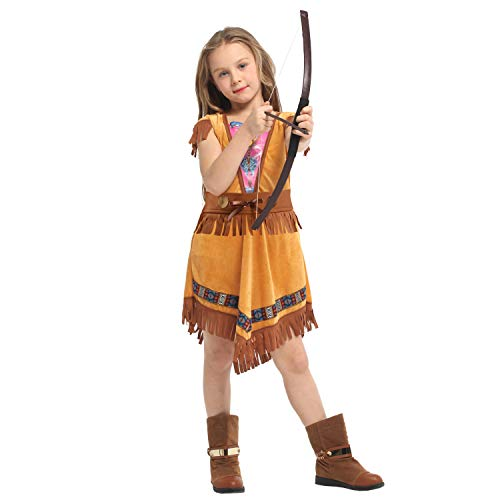 LOLANTA Kids Girls Halloween Native American Costume Indian Princess Dress Brave Hunter Warrior Outfit (5-6 Years) (Ideen Halloween Princess)
