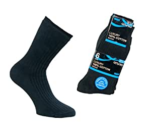 6 pairs black, cotton men's socks size 6-11