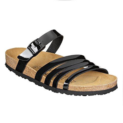JOE N JOYCE Rome SynSoft Damen Sandalen offene Schuhe Schwarz Glänzend Größe 42
