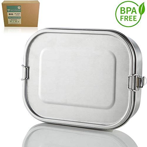 Let´s Lunch Lunchbox Edelstahl Auslaufsicher mit Klippverschluss 2.0 - NEU mit 1400ml in XXL - TÜV geprüft - BPA FREI - Bento Box - Dichte Brotdose - Vesperbox - Jausenbox für Kinder und Erwachsene