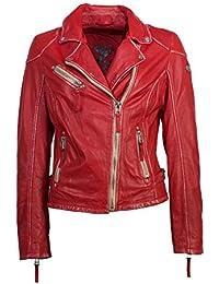 c4ab7bb2502e Gipsy Modische Damen Lederjacke in rot, eine tolle Bikerjacke aus echtem  Leder
