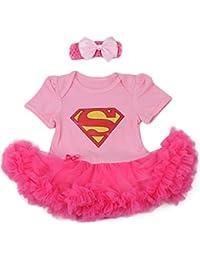 SUPERGIRL rose, déguisement bébé 3 à 24 mois (A) 0/ 3 mois,6/9 mois,12 mois,18/24 mois