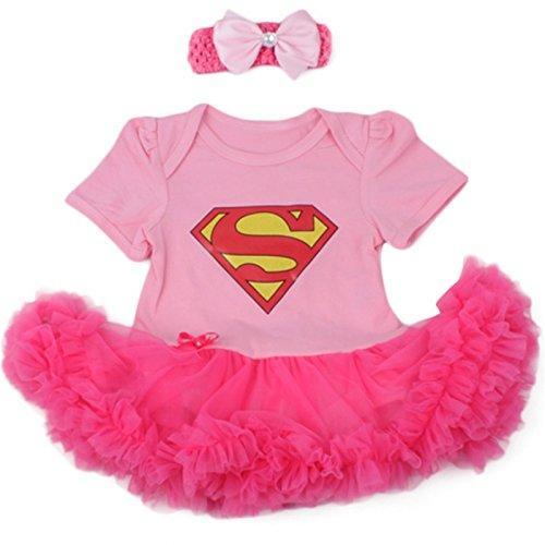 Supergirl Pink, Kostüm Baby 3bis 24Monate 6/9Monate, 12Monate, 0/3Monate, (Mädchen Rosa Kostüme Supergirl)