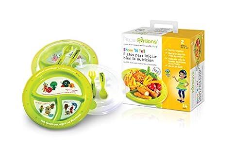 Grande Portion Plaque de contrôle enfants–Show N 'tell Nutrition Start–Kit de droite portions précis–Lot de 2–Kid Lave-vaisselle sans BPA–Assiettes–Couvercle–Manger Ustensiles–Fourchette–Cuillère–USDA Recommandations nutritionnelles–3Divisions à un design d'une taille parfaite sans Thinking–Repas à l'extérieur ou à la maison–Dessins Animés rend très facile pour les enfants à comprendre–en espagnol–Le meilleur outil pour perte de poids et une meilleure Living depuis l'enfance–Améliorer Votre Enfant avenir Lifestyle–Donnez une tête Start