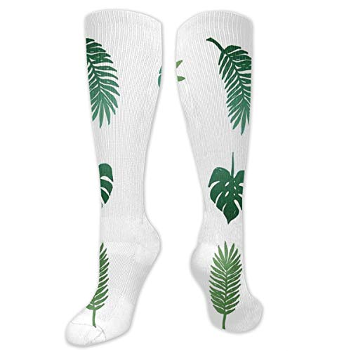 VVIANS Personalized Compression Socks,Tropical Paradise Island Nature Theme Hand Drawn Design With Palm Tree Foliage,Best Medical,for Running,Hiking,Varicose Veins,Circulation & Recovery