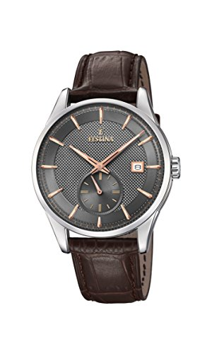 Festina Herren Analog Quarz Uhr mit Leder Armband F20277/3