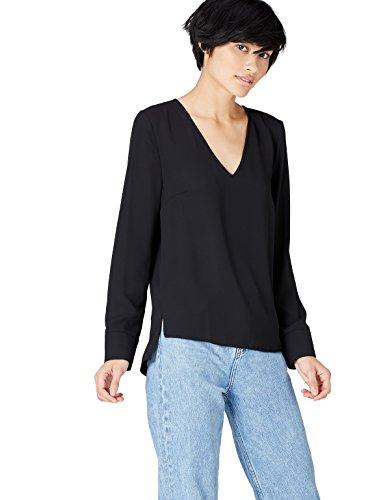 FIND V Neck Blusa para Mujer, Negro (Schwarz), 38 (Talla del Fabricante: Small)