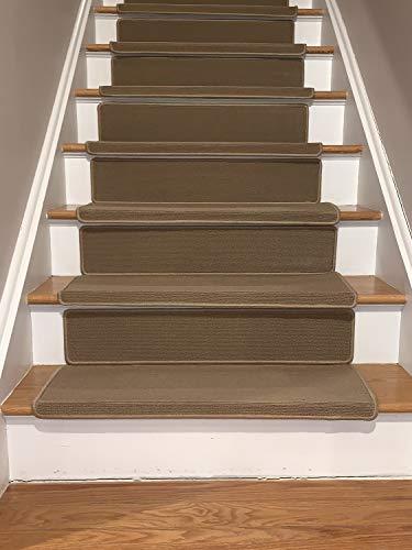 Stufenmatten für Innenräume, rutschfeste Gummi-Unterseite, maschinenwaschbar, Neuster 8, 2,5 x 5,1 x 76,2 cm Set of 13 Bullnose Beige With Riser -
