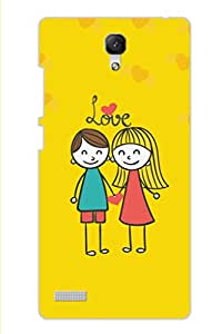 AMAN Cartoon Lovers Yellow 3D Back Cover for Xiaomi Redmi Note Prime