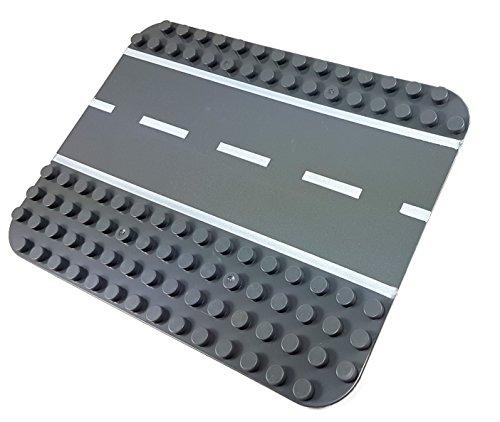 Katara 1813 kompatible Steckspiel mit Straße für Autos Zeug-Weg Street-BAU-Platte zum Bebauen mit Figuren, Türmen, Zubehör für Lego-Spiel, Q-Bricks, Papimax, Sluban. Grau, 1